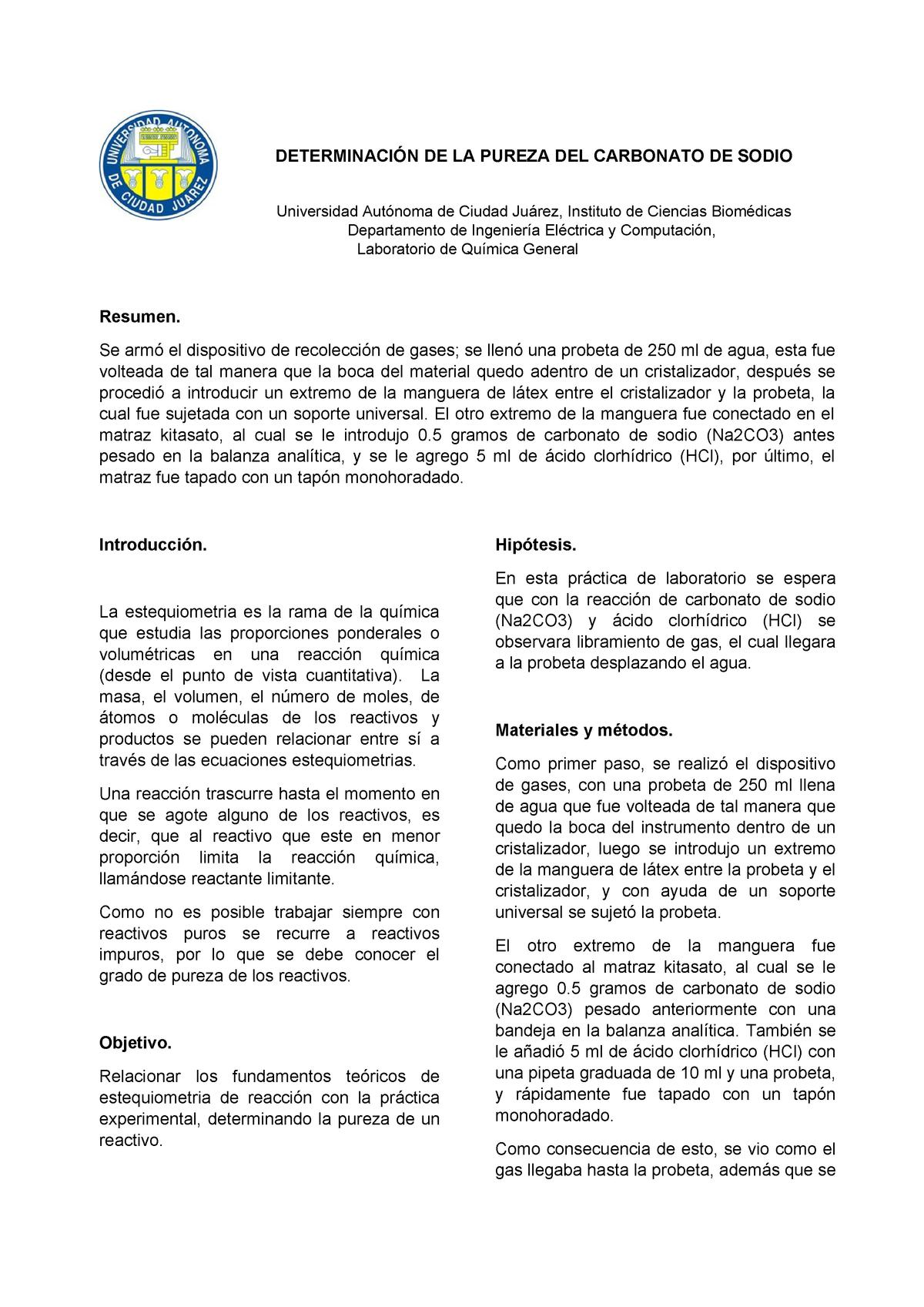 Cc Determinación De La Pureza Del Carbonato De Sodio Studocu