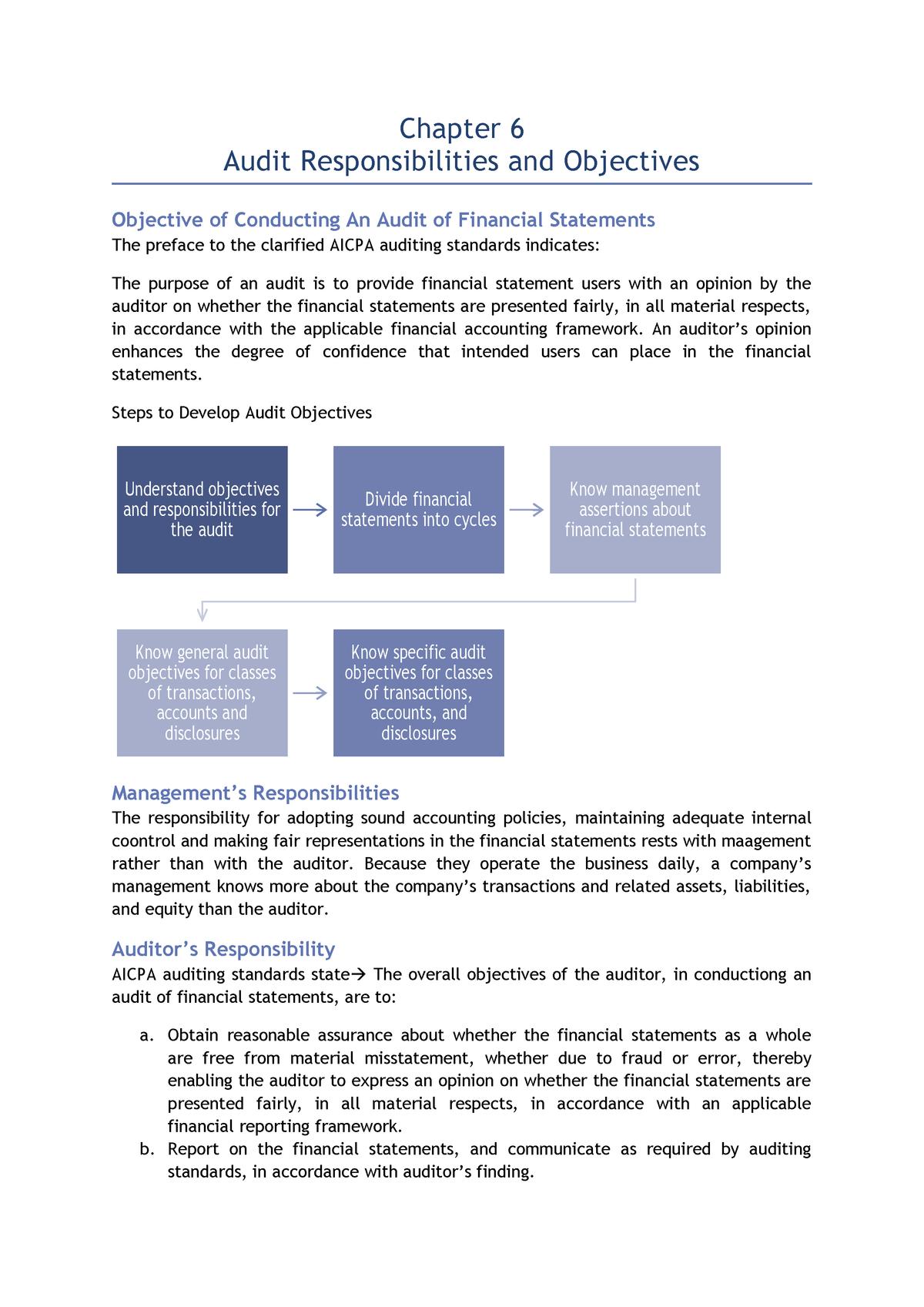 Ch 6 Audit Responsibilities And Objectives Aka302 Unair Studocu