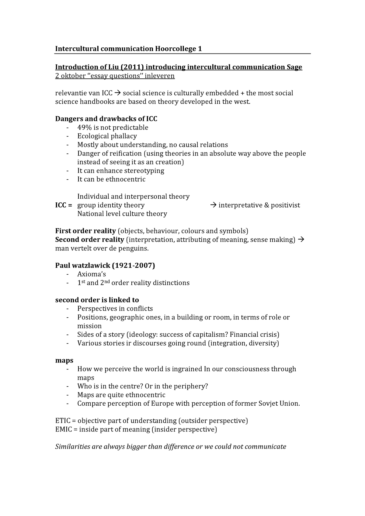 Intercultural Communication - Lecture notes, lecture 1 - 9