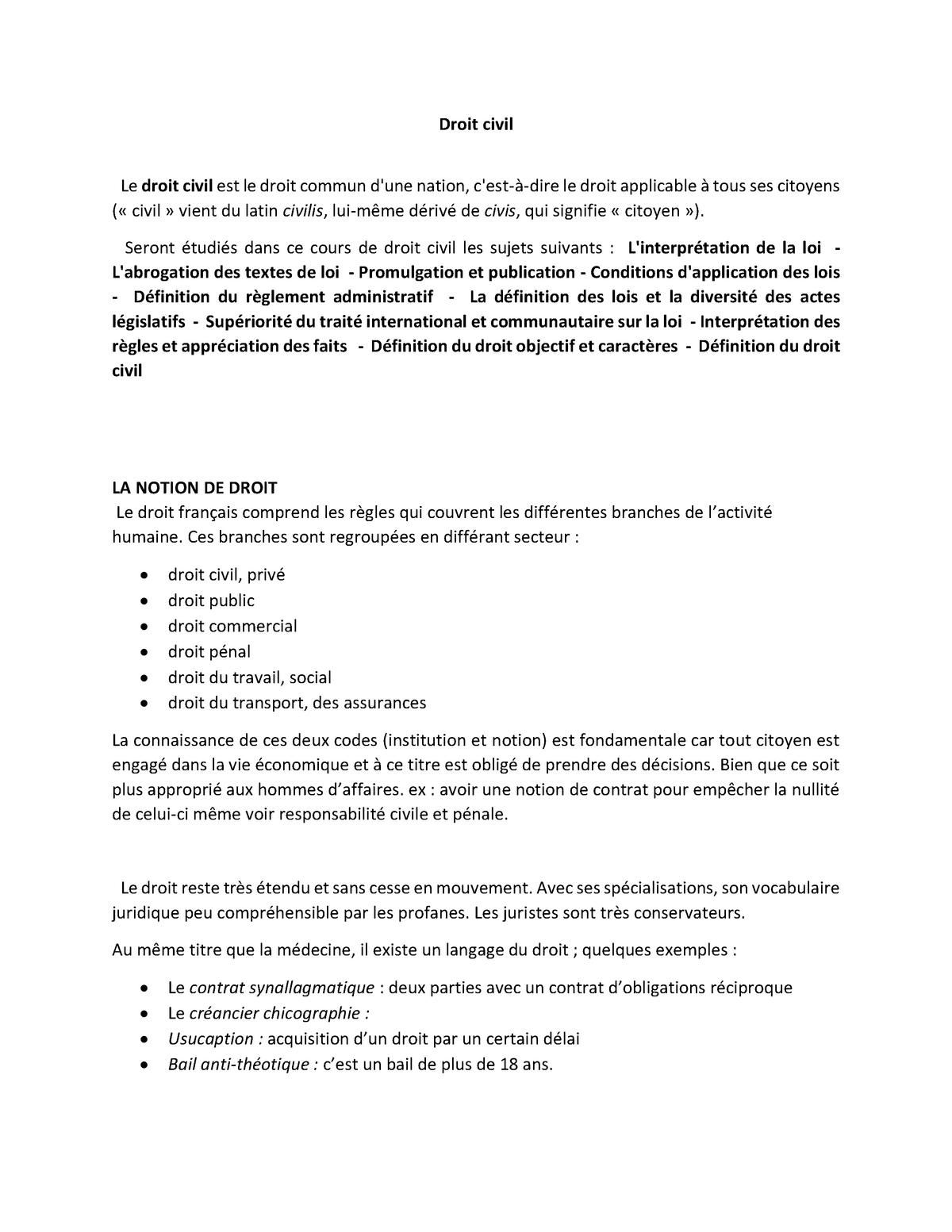 Introduction Au Droit Civil 1 Universite Paris 8 Studocu