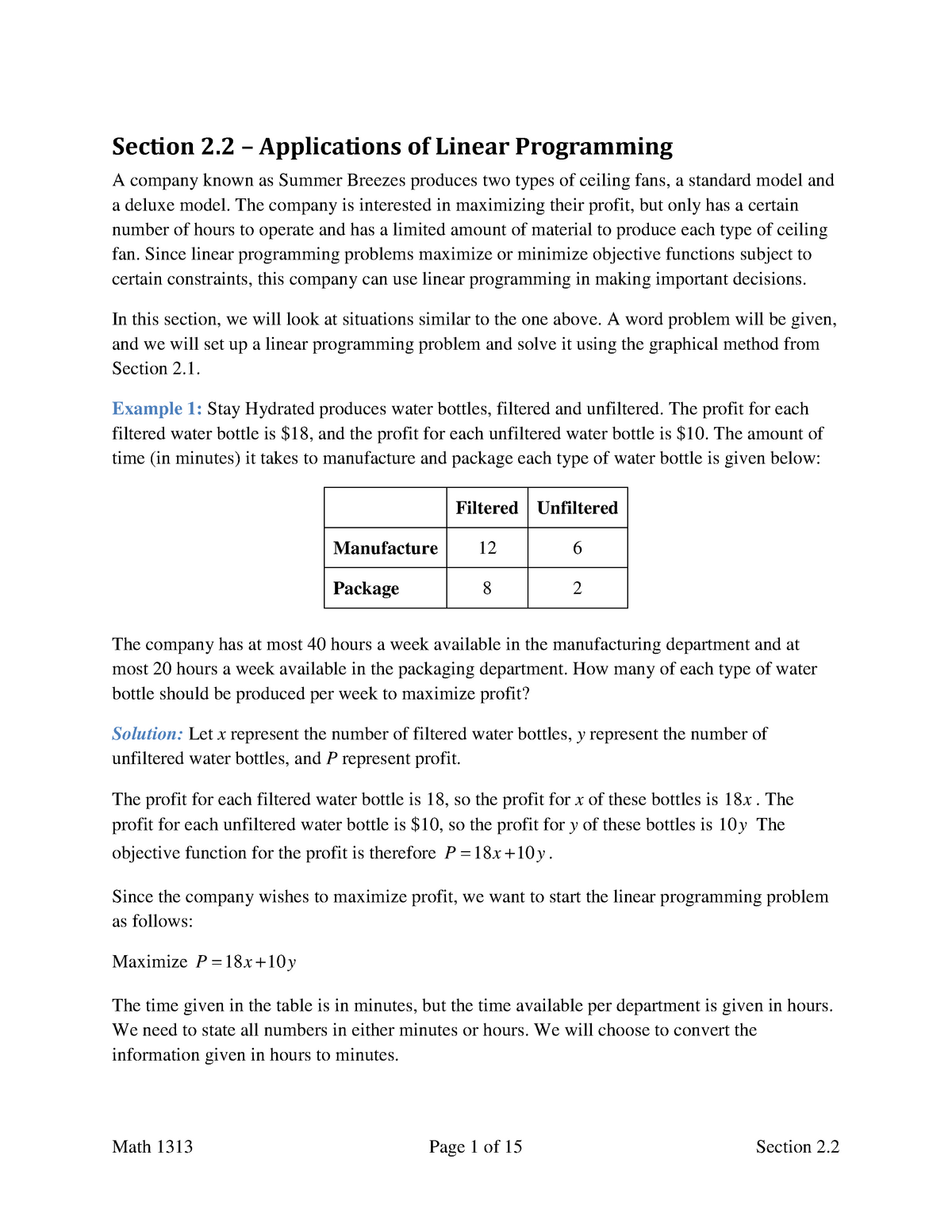 Applications of Linear Programming Section 2 2 - MATH 1313