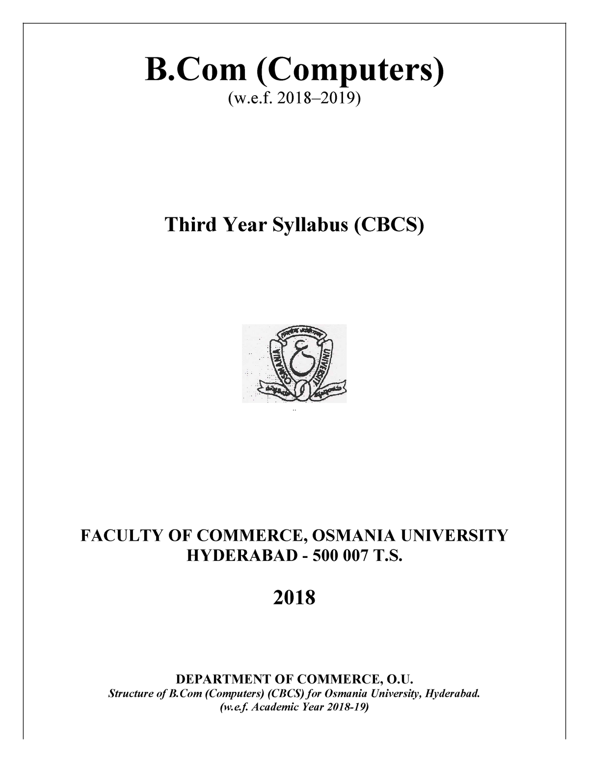 2  B Com Computers - 402: Bachelor of commerce (computers) - StuDocu