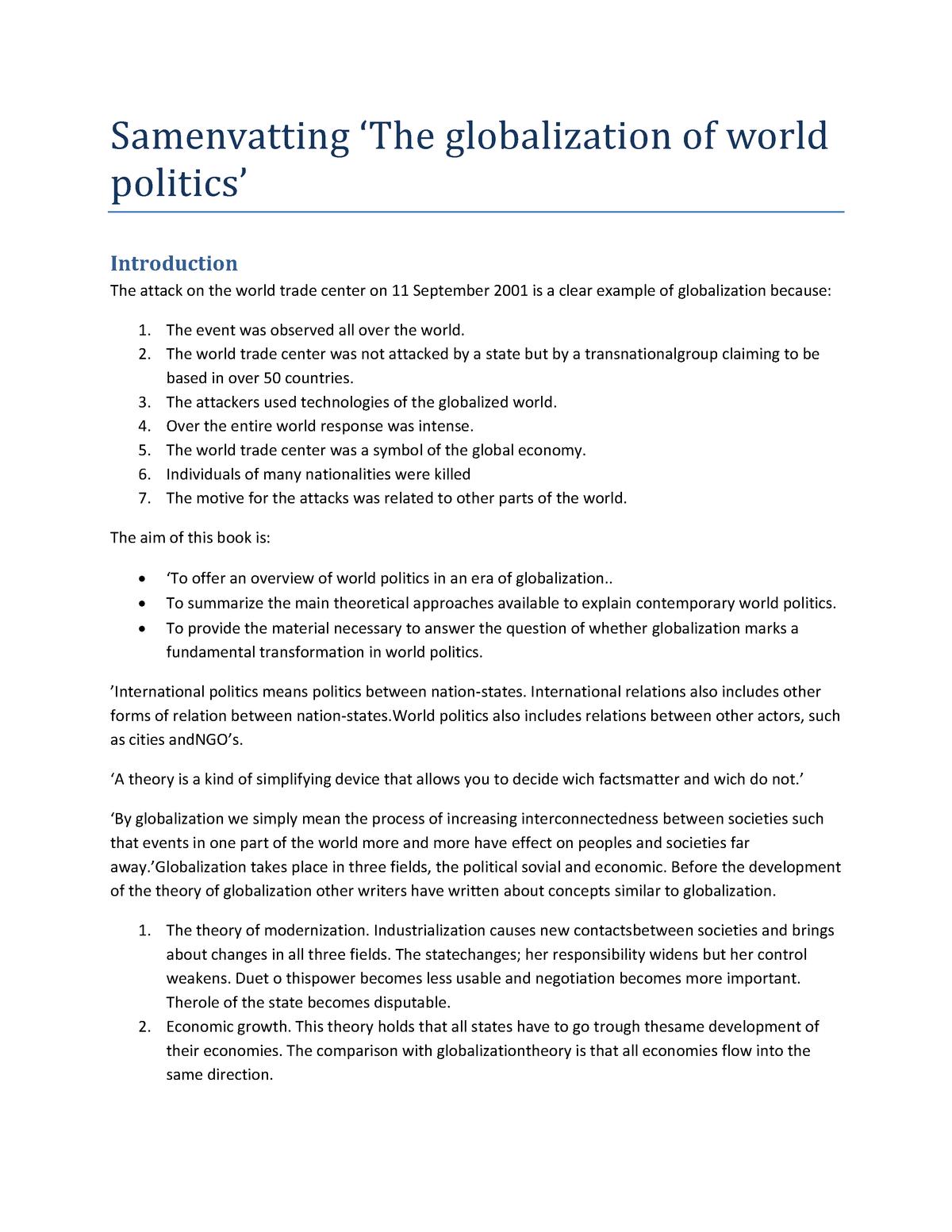 Summary International relations: book