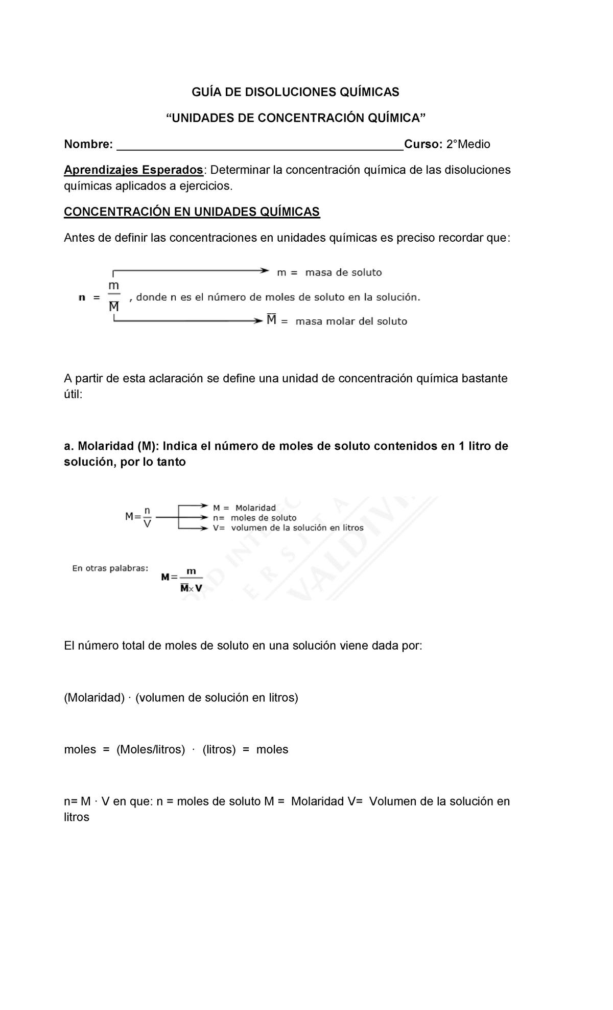 Guía N 4 Unidades De Concentración Quimica Copia Gu De Disoluciones Qu Micas Studocu