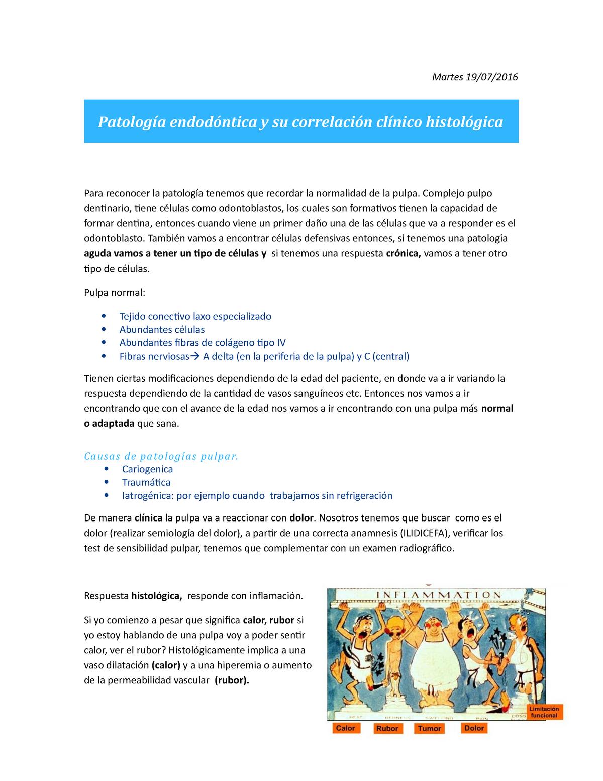 Patología endodóntica y su correlación clínico histológica