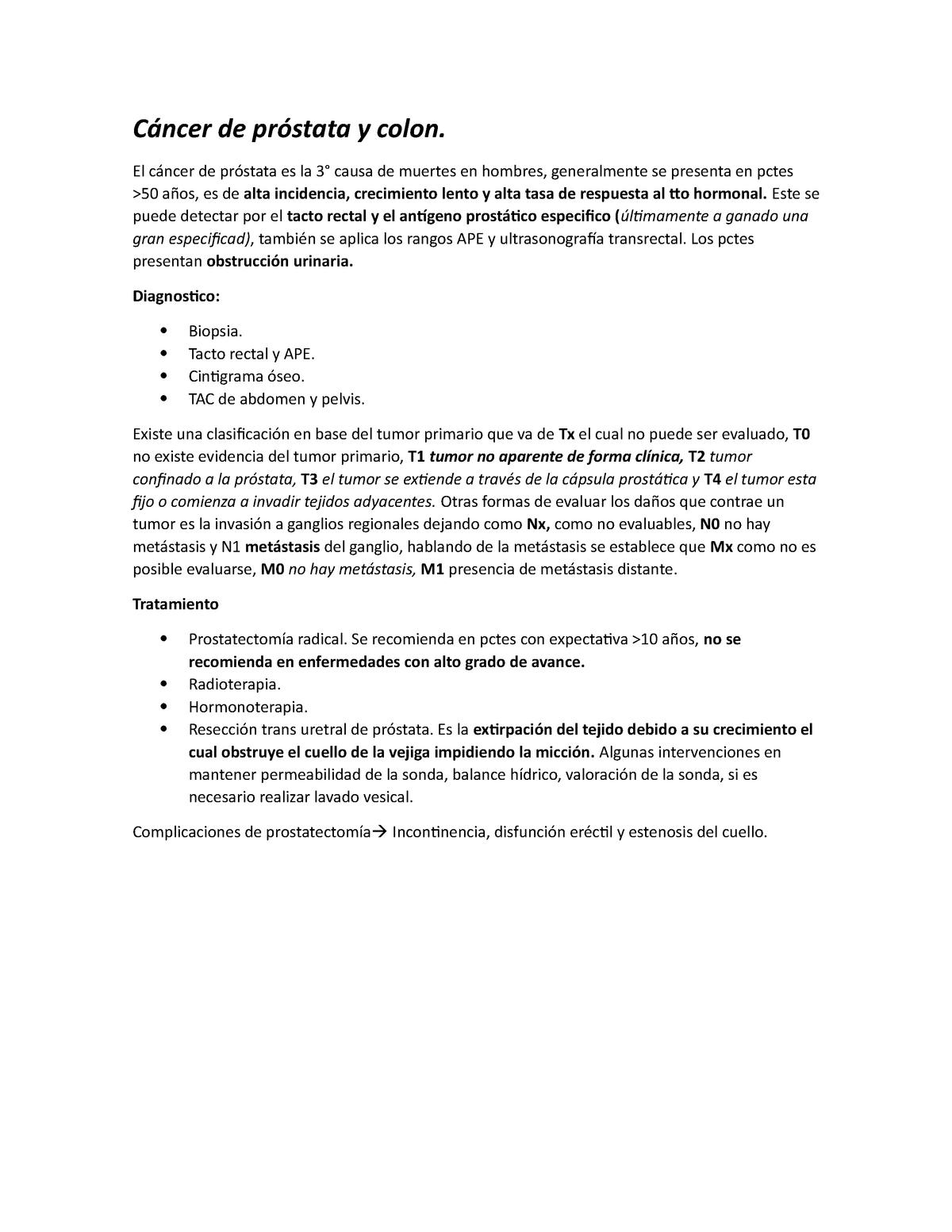 incontinencia intestinal por cáncer de próstata