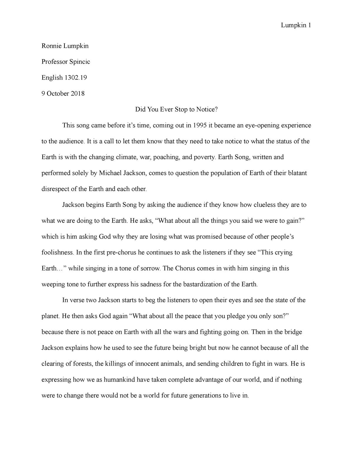 Lyrical Analysis - ENG 165: Composition Ii - StuDocu