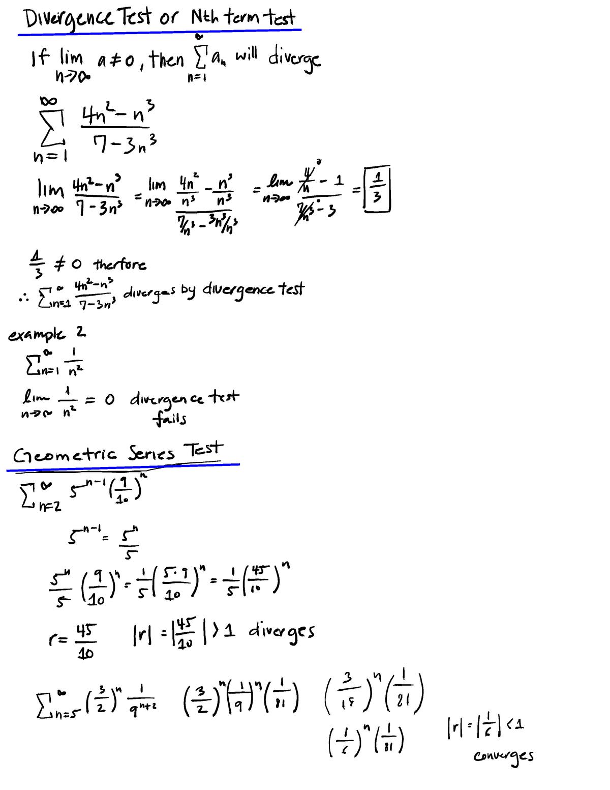 Series Notes - MATH 150B Calculus II - CSUF - StuDocu