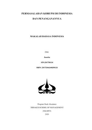 Makalah Bahasa Indonesia Juanita 2017 50134 Studocu