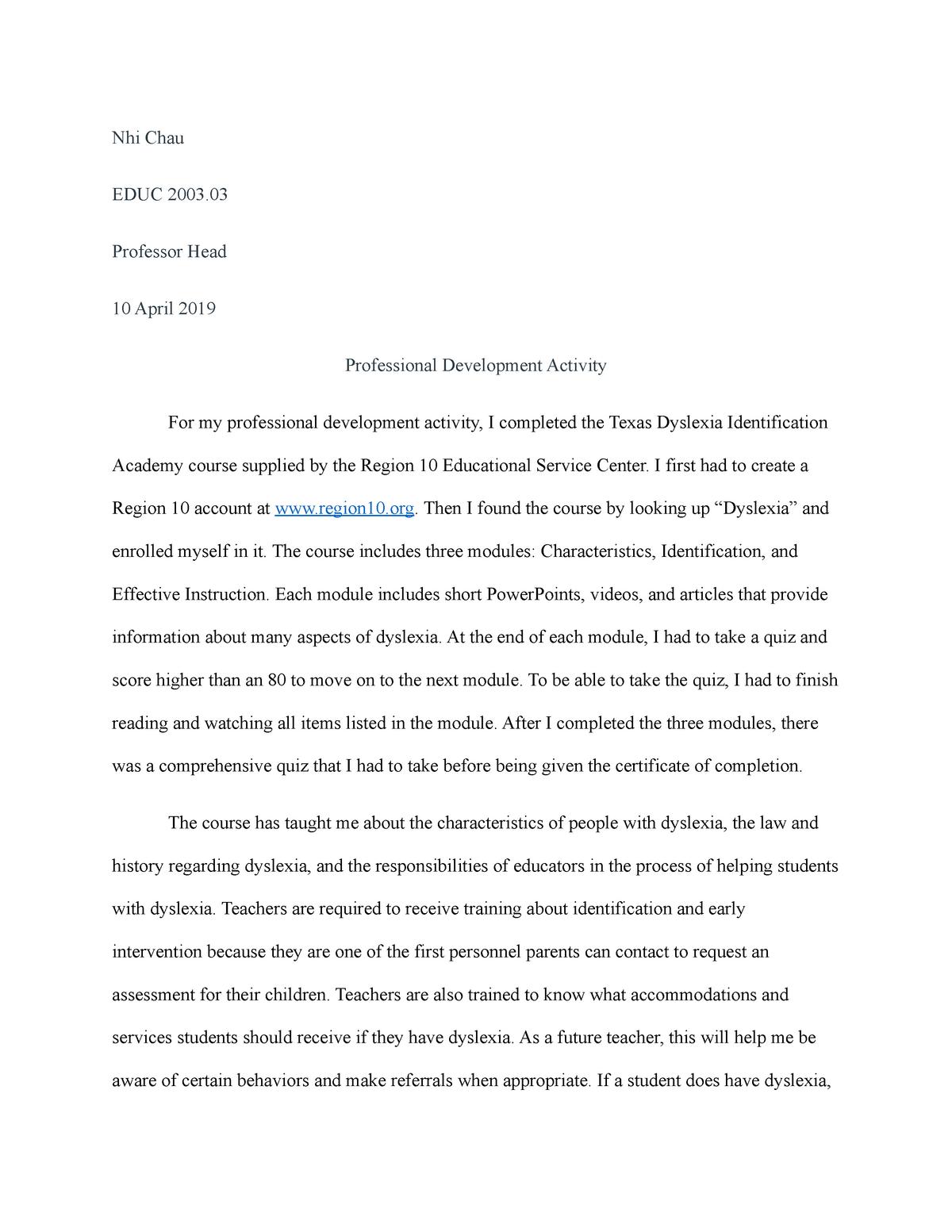 Professional Development Activity - EDUC 2003: Schools and Society