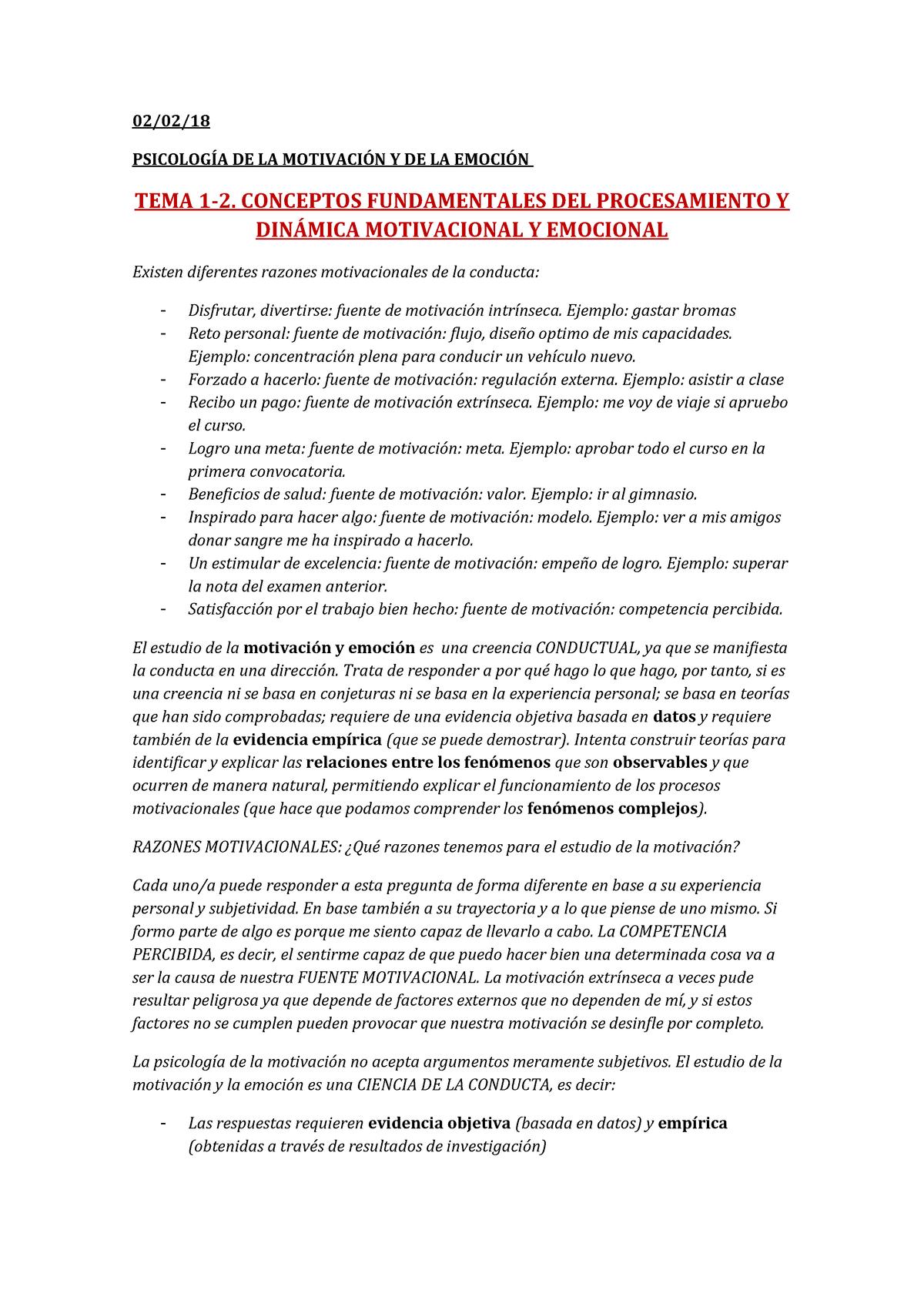 Psicología De La Motivación Y Emoción 33936 Uv Studocu