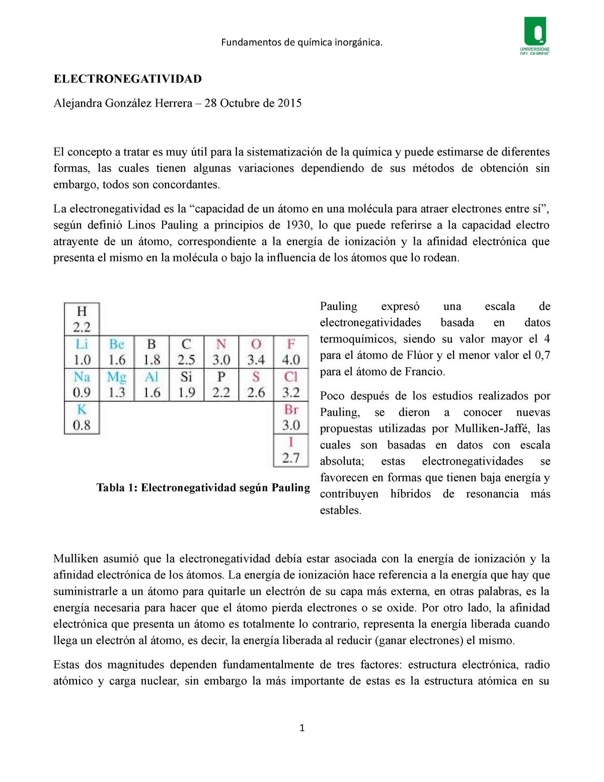 Electronegatividad Química Inorgánica Uniquindio Studocu