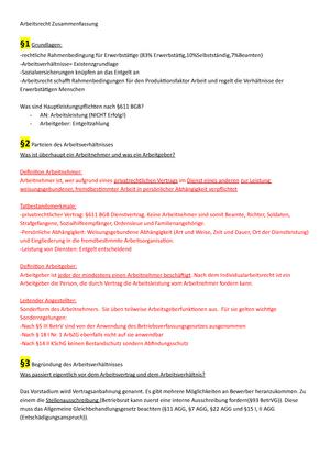 Junker Arbeitsrecht 1 Zusammenfassung Arbeitsrecht