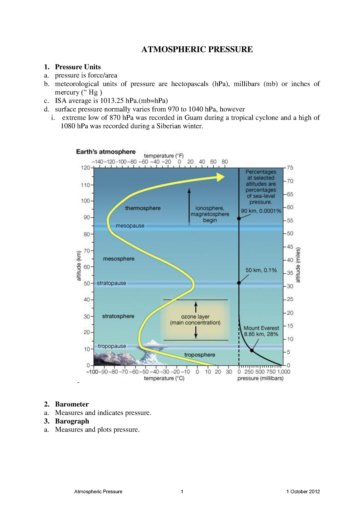 Atmospheric Pressure - Lecture notes, lectures 2 - 9 - StuDocu