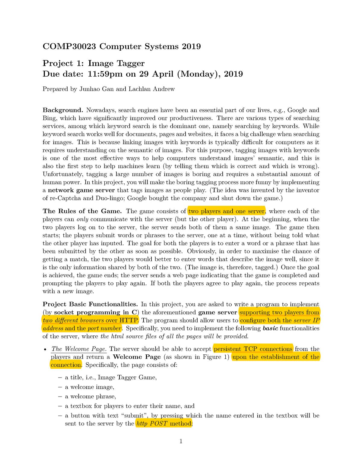 Project 1 spec - COMP30023: Computer Systems - StuDocu