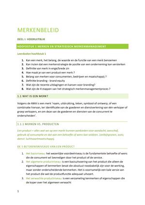 2e3f6dec4d1594 Samenvatting-merkenbeleid - Merkenbeleid - StuDocu