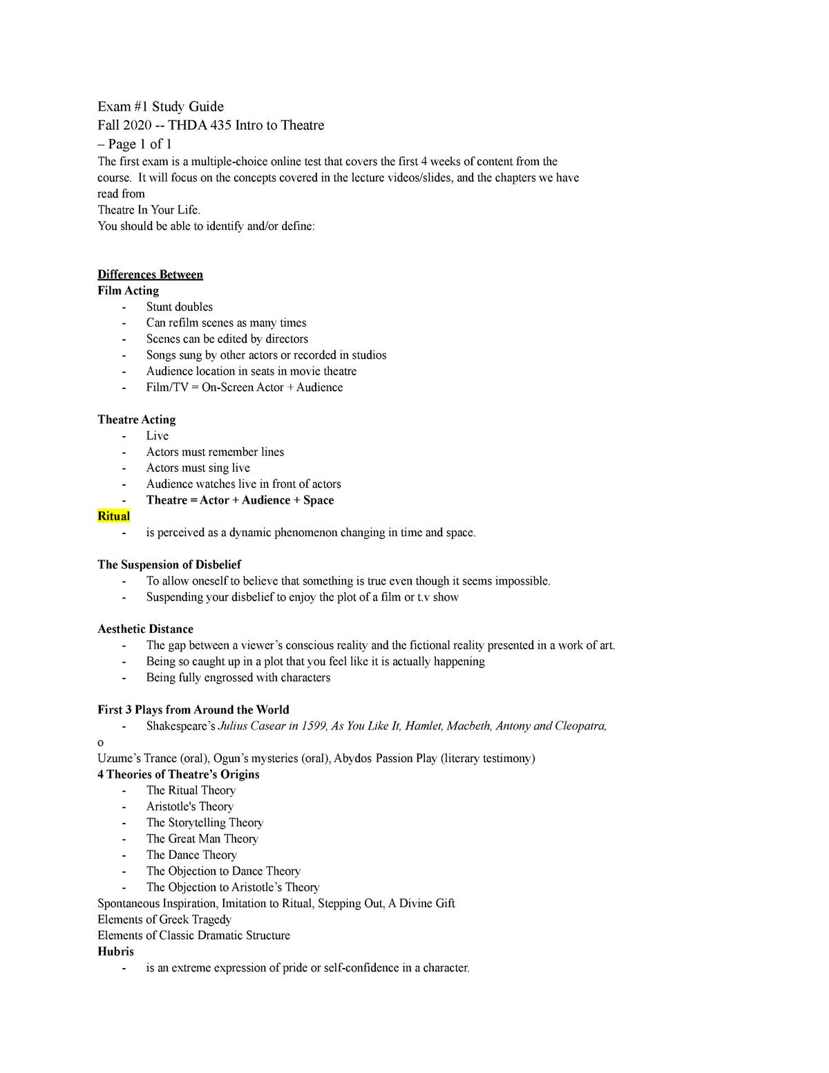 THDA Exam 20 Study Guide   THDA 20   Introduction To Theatre ...