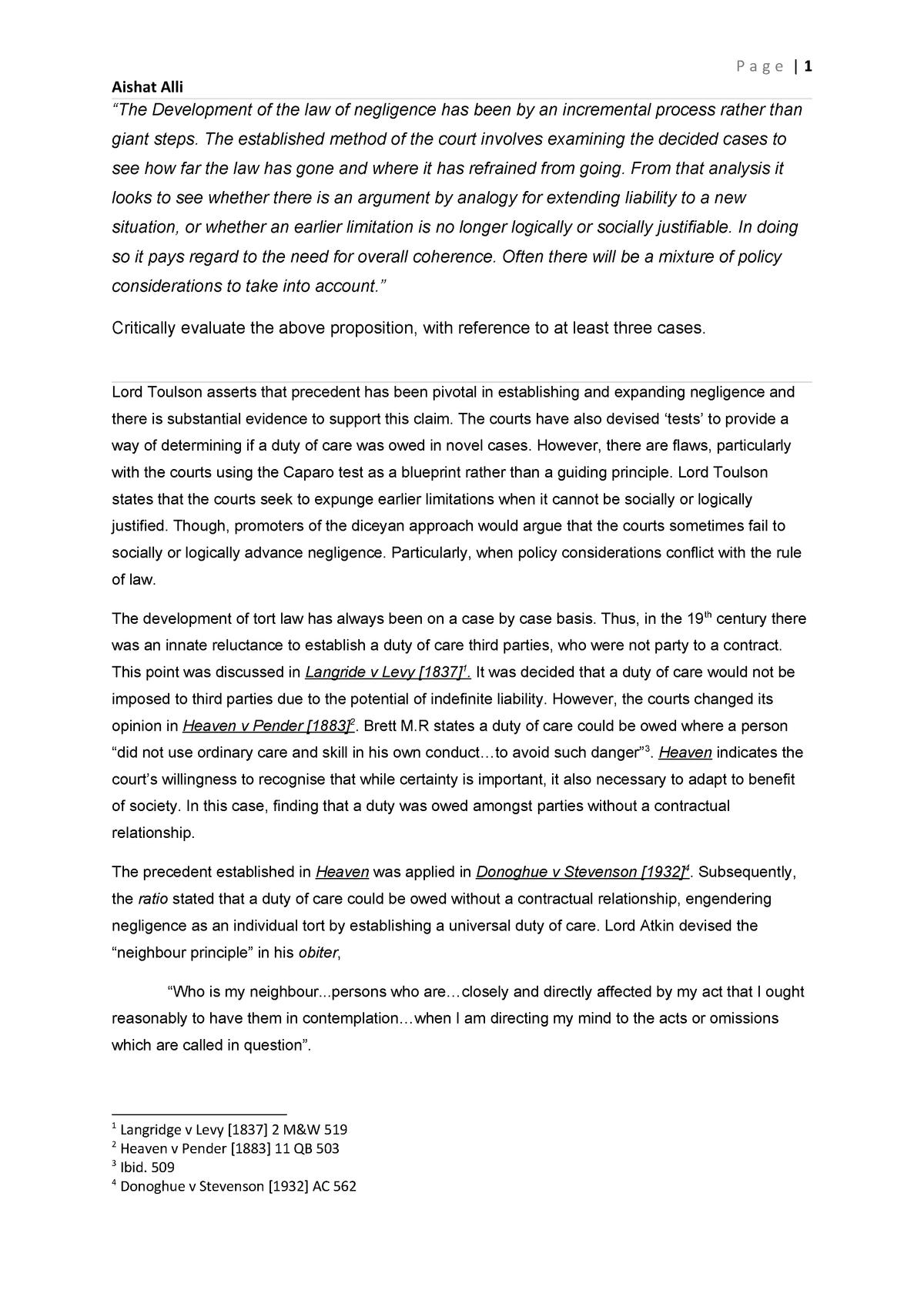 Tort law essay