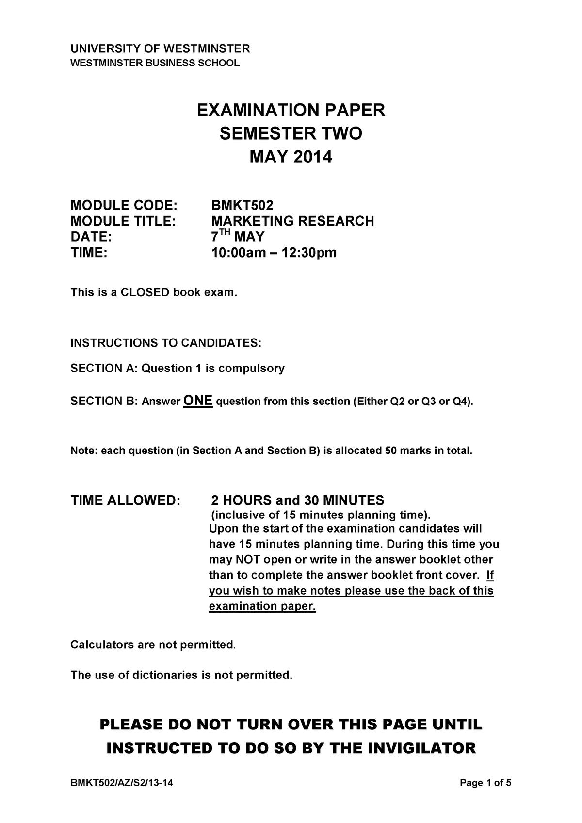 Exam 2014, questions - Marketing research - BMKT502 - StuDocu