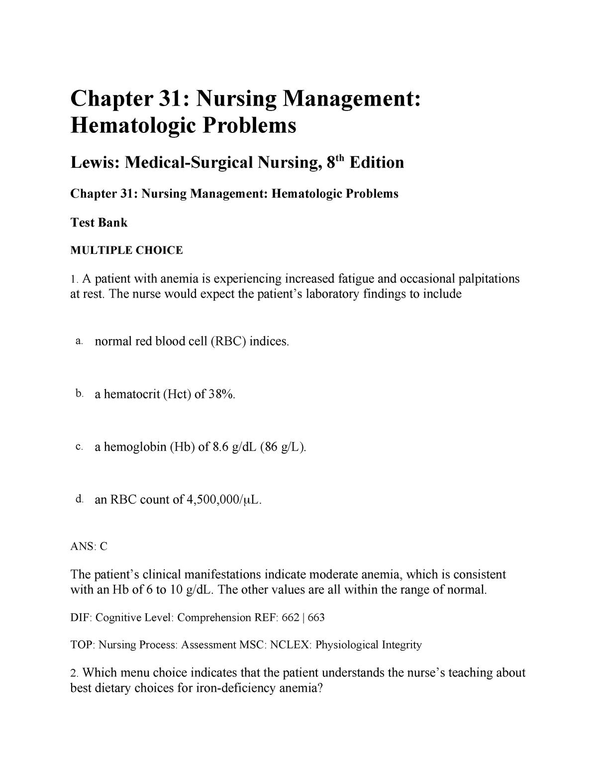 Exam 2018 - NUR2212: Advanced Medsurg - StuDocu