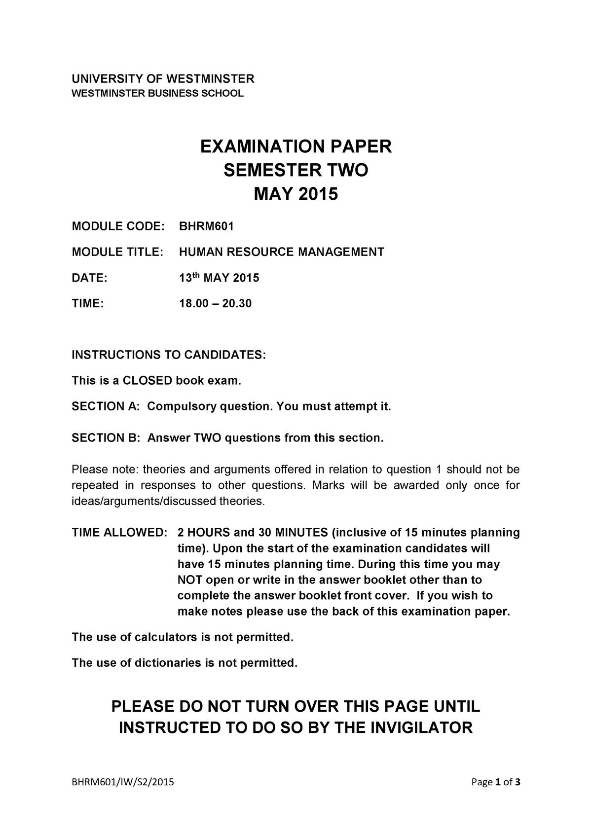 Exam 2015 - BMAM702: Human Resource Management - StuDocu