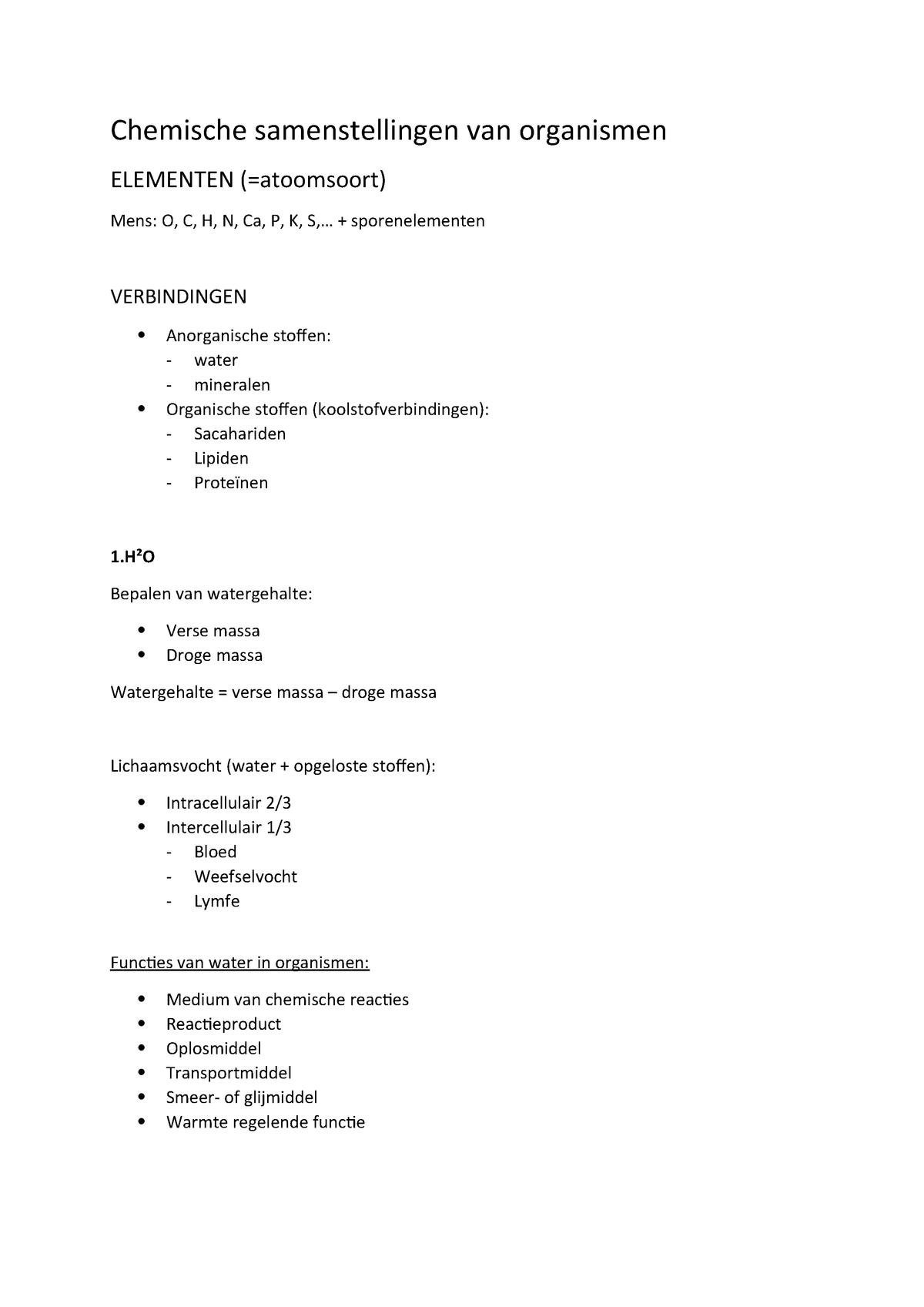 Chemische Samenstellingen Van Organismen B Ucll Qd1101
