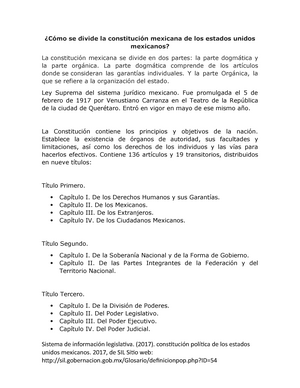Cómo Se Divide La Constitución Mexicana De Los Estados