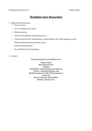 Deckblatt Einer Hausarbeit Wissenschaftliches Arbeiten