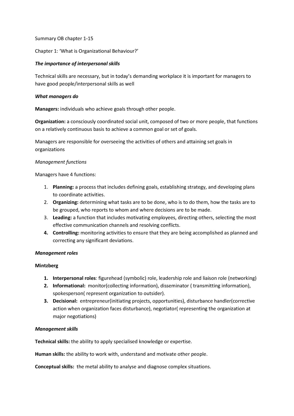 Summary Summary Organizational Behavior, H1-15 25 Nov 2013