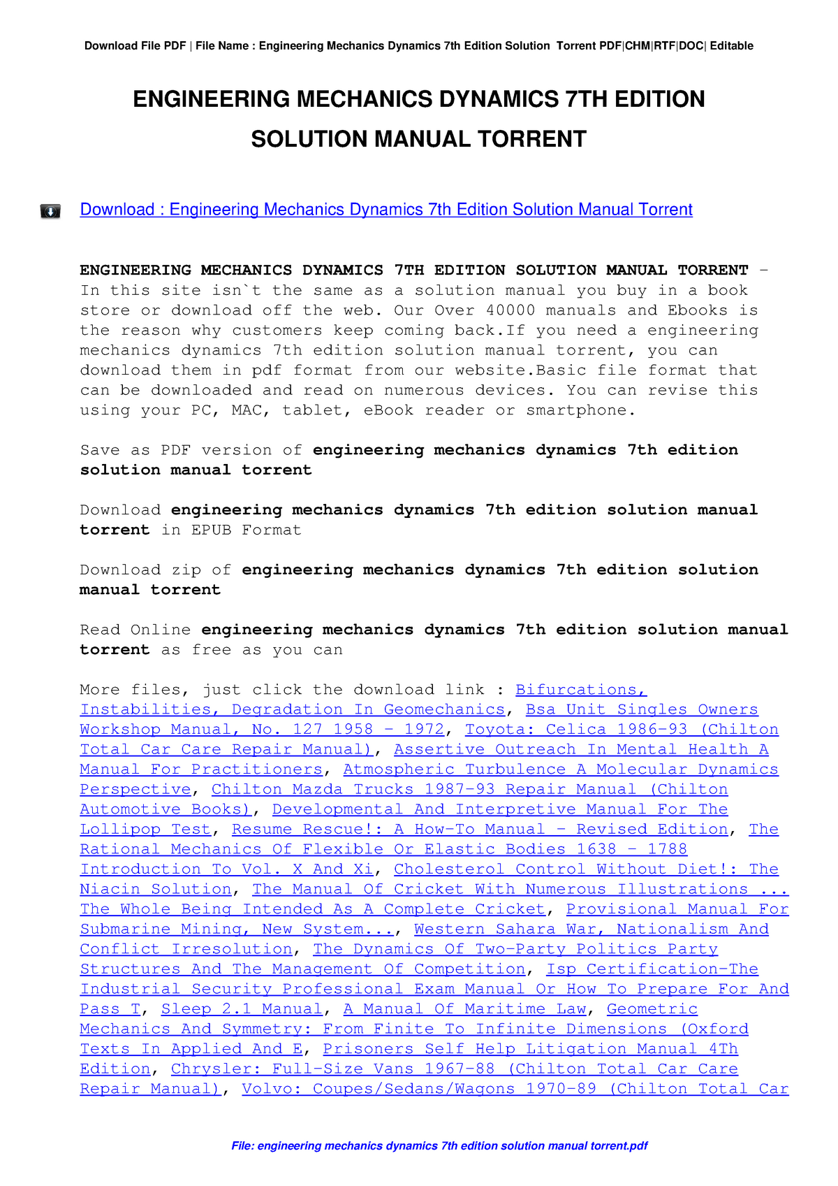 how to download meriam solution pdf - 24011: Dynamic - StuDocu