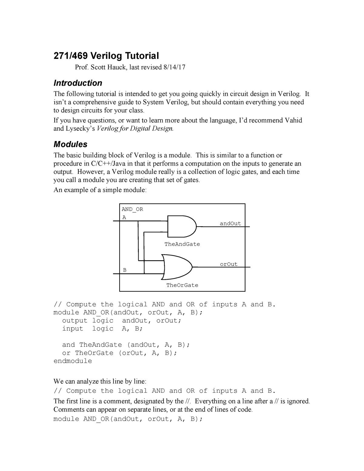 System Verilog Tutorial - MICROM800: Electric Circuits Laboratory