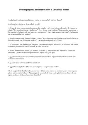 Preguntas Tipo Selectividad Lazarillo De Tormes Posibles Preguntas En El Examen Studocu