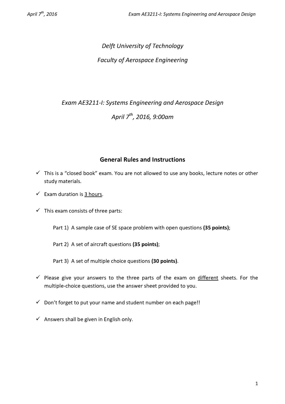 Tentamen 2016 - AE3211-I: Systems Engineering & Aerospace Design