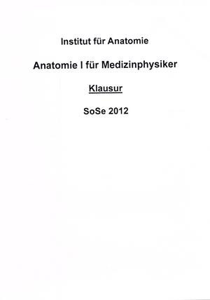 Klausur 2012 - 209500: Anatomie I - StuDocu