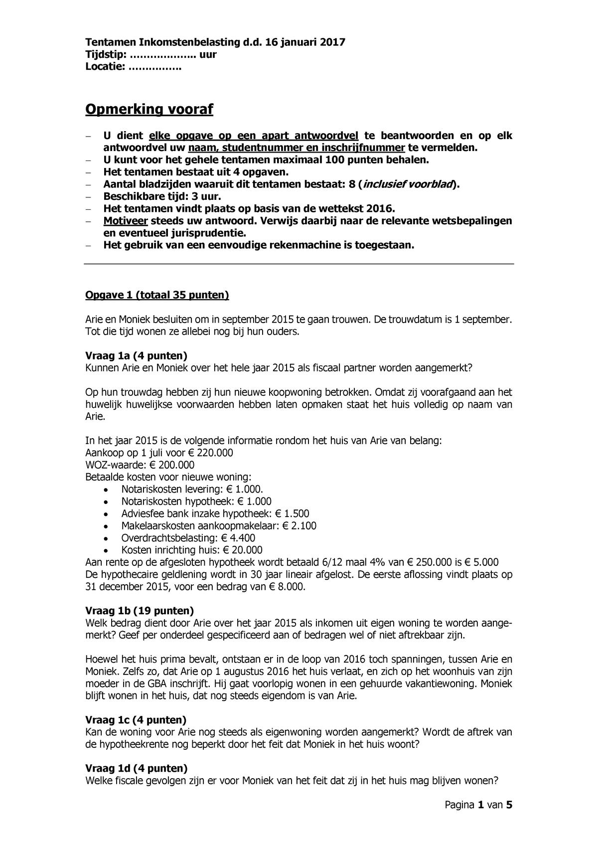 Tentamen Inkomstenbelasting Kans 1 Januari 2017 Studeersnel