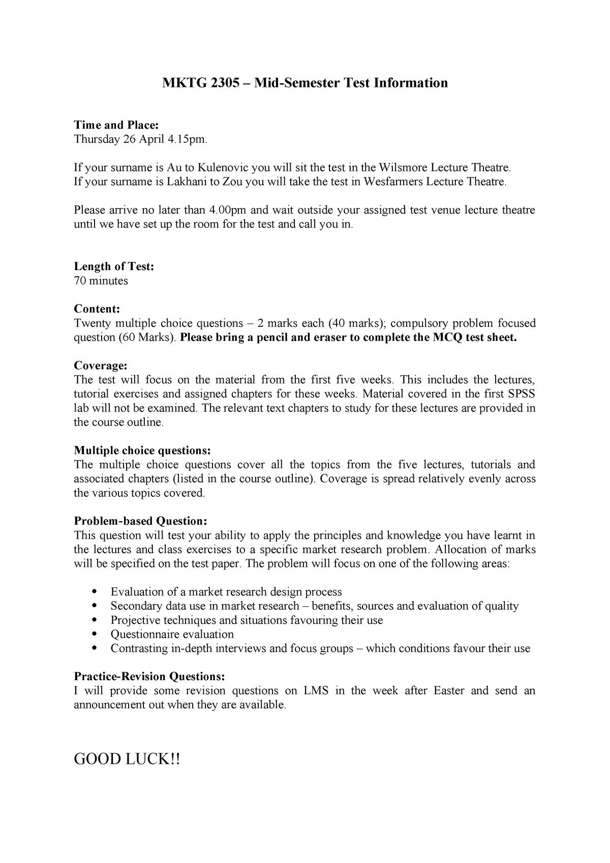 MKTG 2305 Mid Semester Test Information S1 2018 - MKTG2305