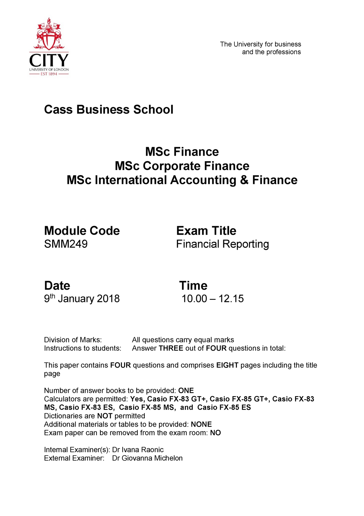 Exam 1 January 2018, questions - MSc Finance - City - StuDocu