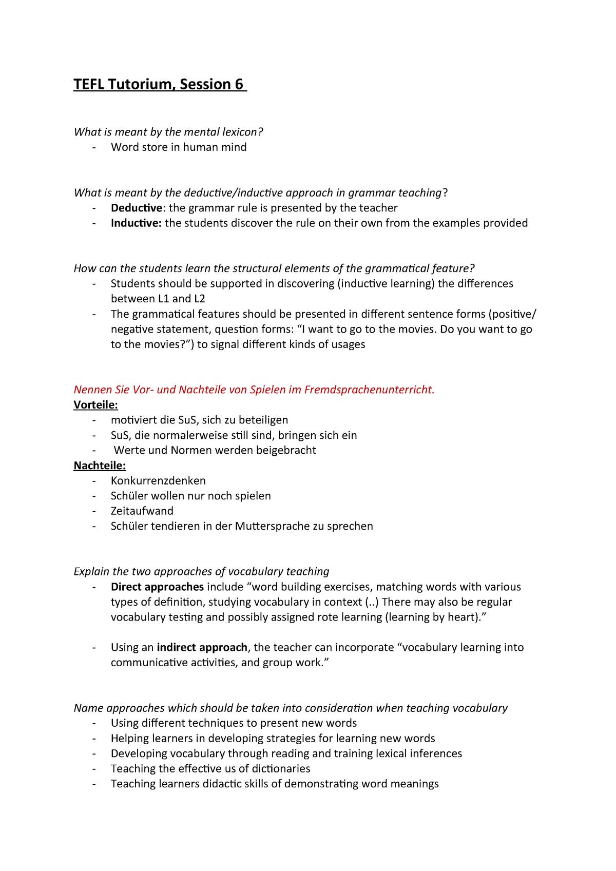 TEFL Tutorium, Session 6 und 7 - L 008 32422: TEFL: Teaching English