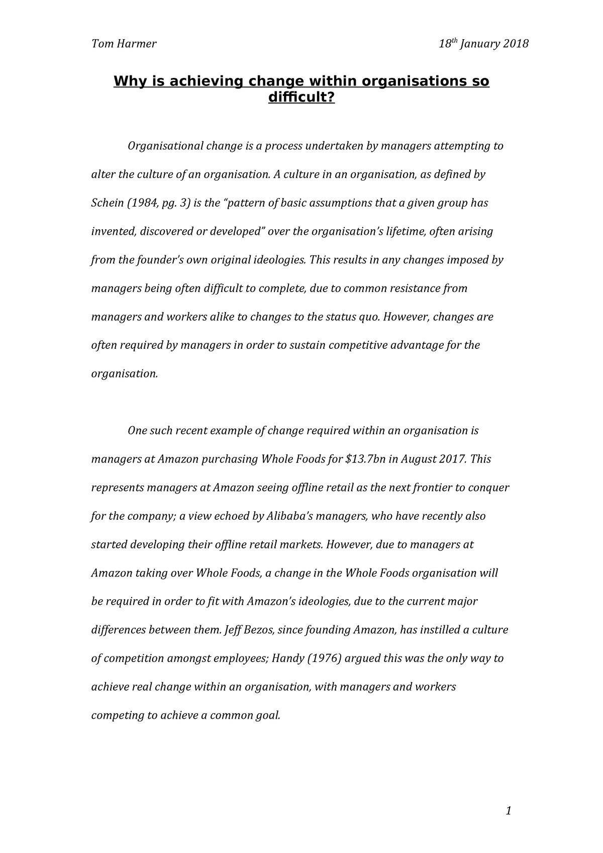 Hilary Essay Wk 1 - General Management - StuDocu
