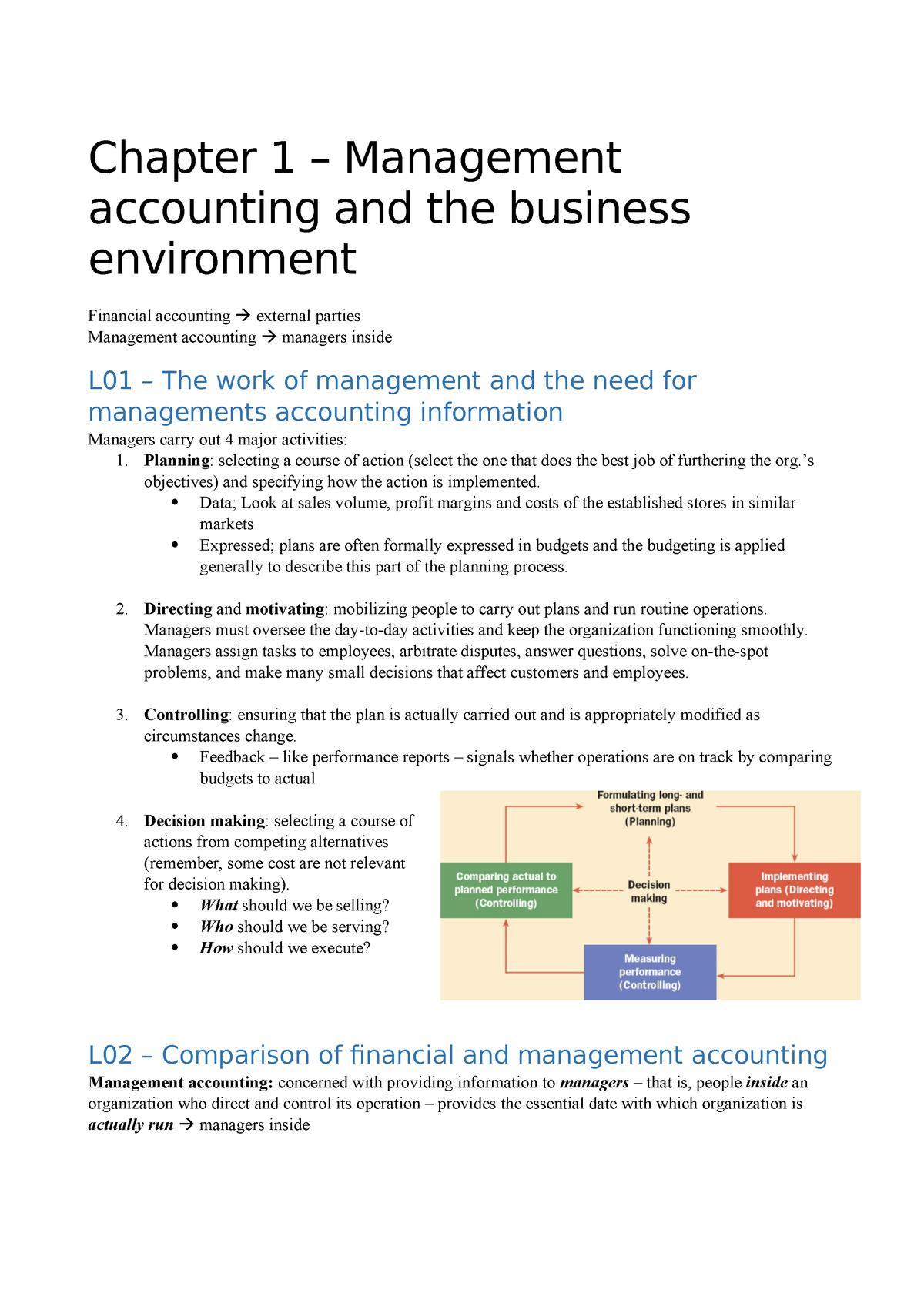 CMA Chapter notes - Resumé Management Accounting - CBS - StuDocu