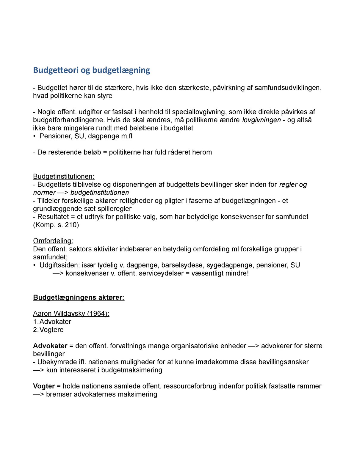 a619fd79acc Budgetteori og budgetlægning - ASTB05001U: Politologisk grundkursus -  StuDocu
