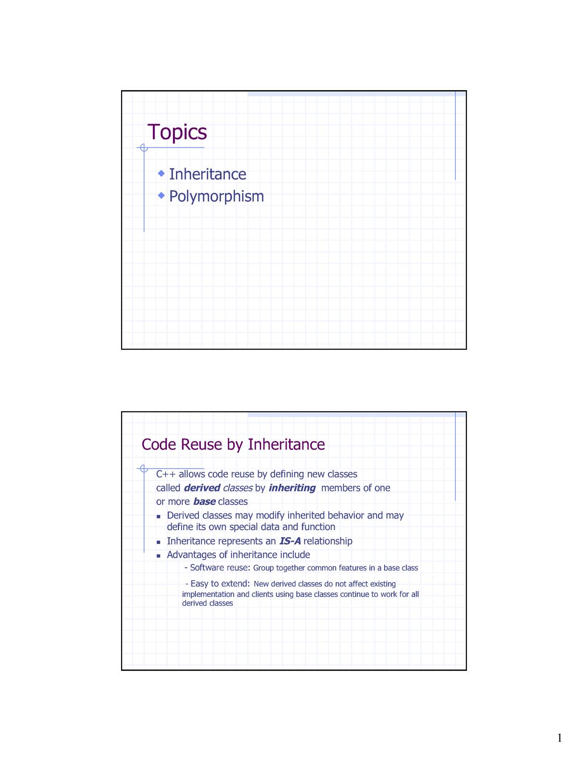 Lecture Notes 9 - Inheritance - Computer Science 2620 - StuDocu