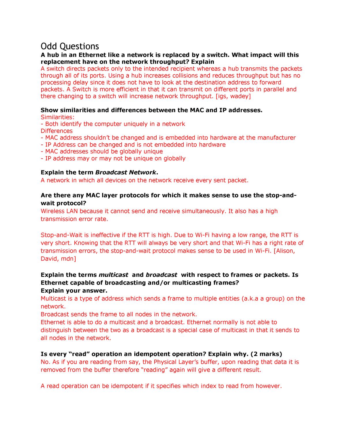 Exam 2014 - COMS3200: Computer Networks I - StuDocu
