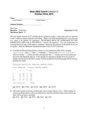 Exam 2013 - Stats 2B03: Statistical Methods for Science - StuDocu