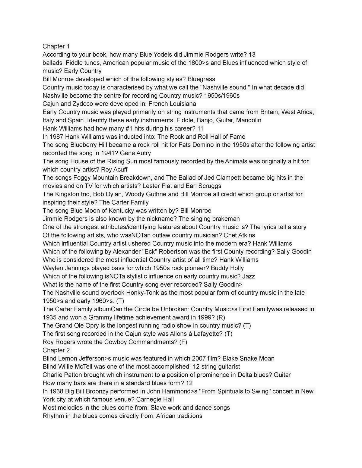 MUS 125 - QUIZ ANSWERS - MUS 125 History Of Rock Music - StuDocu