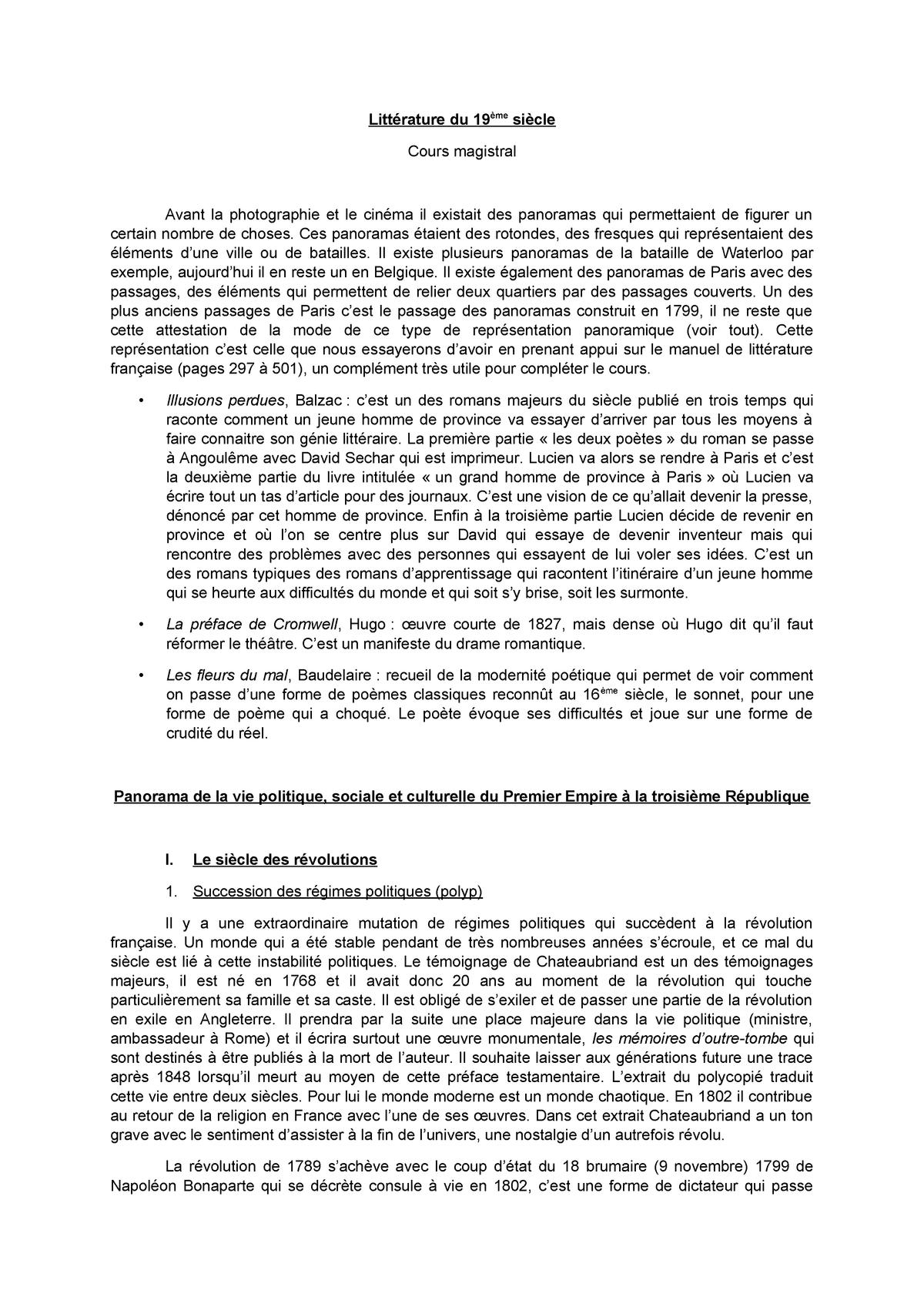 Cm Littérature Du Xixème Siècle Studocu