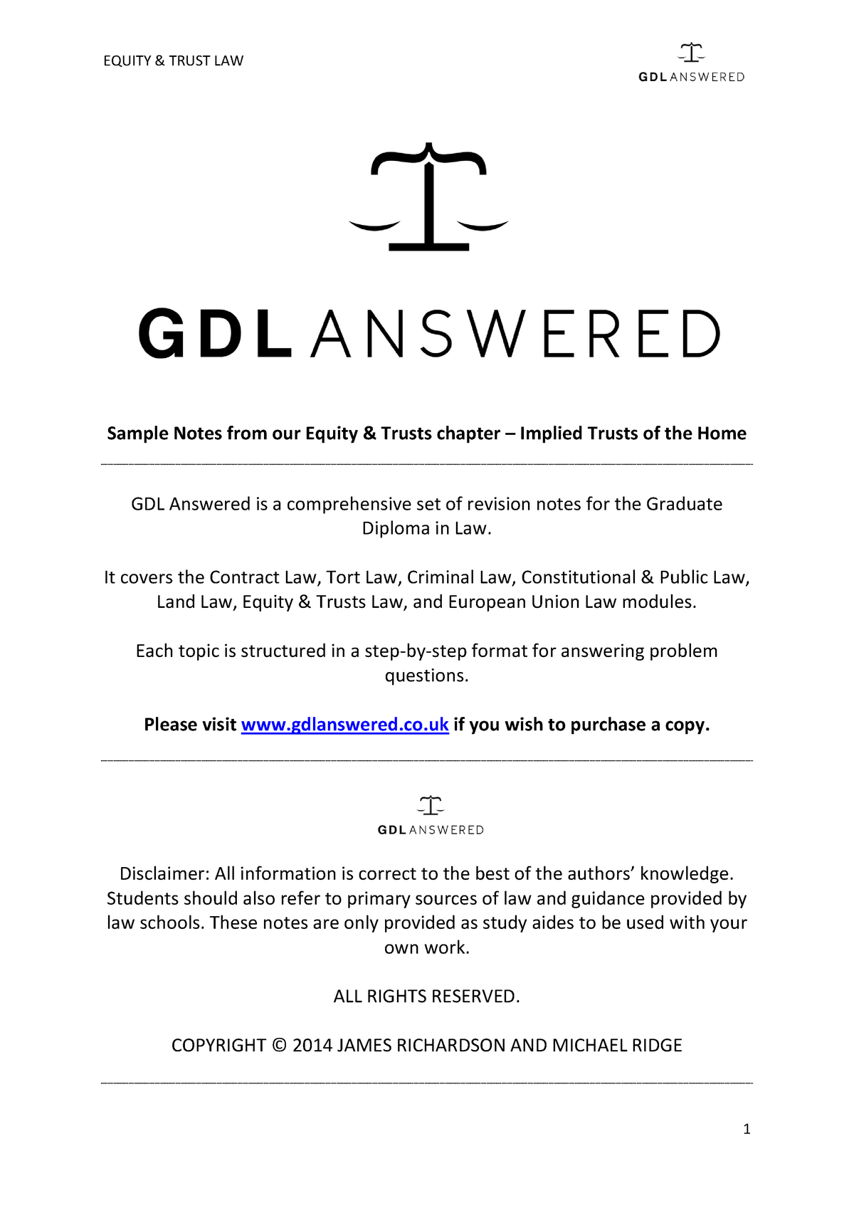 GDL Answered - Implied Trusts of the Home sample chapter