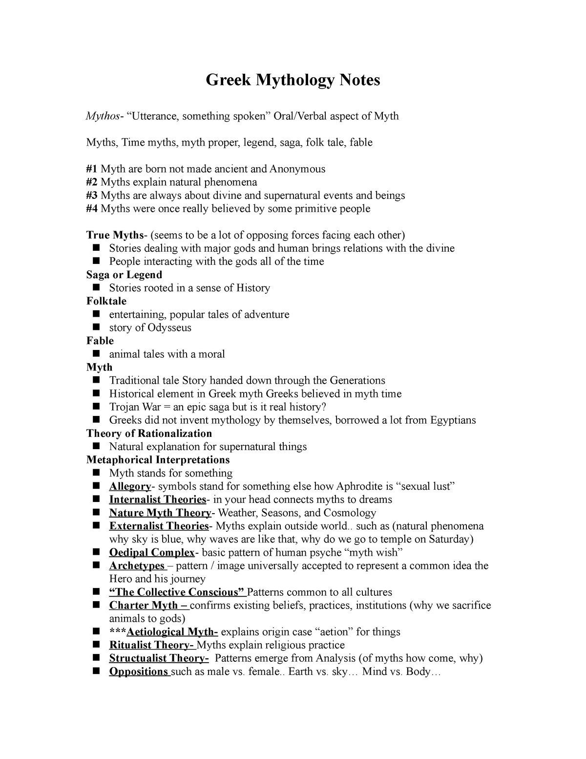 Greek Mythology Notes - CL 102 - StuDocu