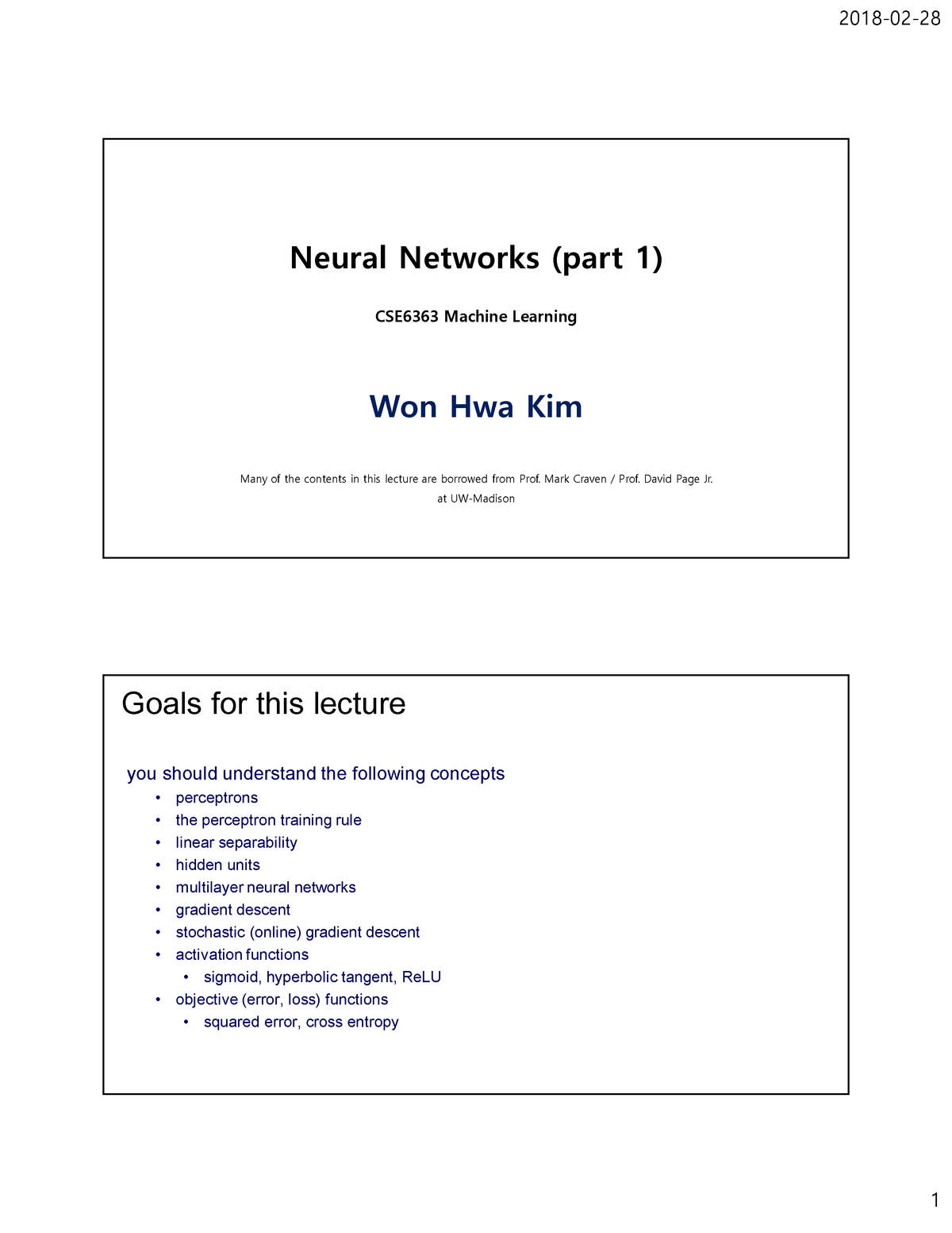 10 ann final - Lecture notes 10 - CSE 6364 MACHINE LEARNING