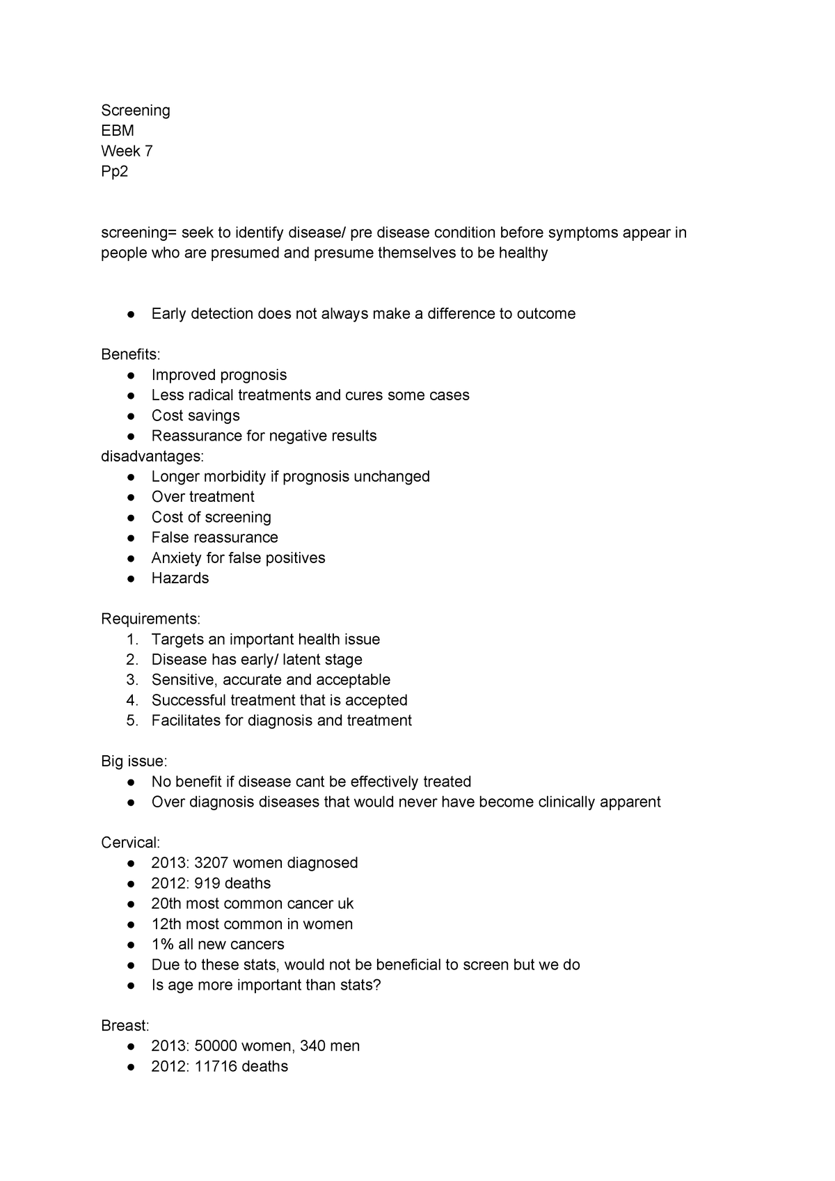 Cancer screening lecture notes - U14675 - Brookes - StuDocu